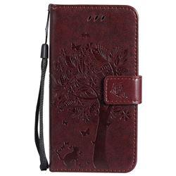 Embossing Butterfly Tree Leather Wallet Case for Motorola Moto G5 - Coffee