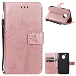Embossing Butterfly Tree Leather Wallet Case for Motorola Moto G5 - Rose Pink