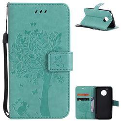 Embossing Butterfly Tree Leather Wallet Case for Motorola Moto G5 - Cyan