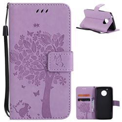 Embossing Butterfly Tree Leather Wallet Case for Motorola Moto G5 - Violet