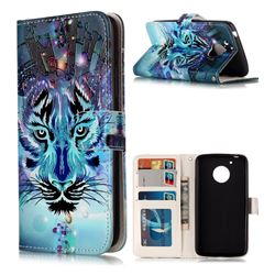 Ice Wolf 3D Relief Oil PU Leather Wallet Case for Motorola Moto G5