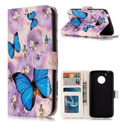 Purple Flowers Butterfly 3D Relief Oil PU Leather Wallet Case for Motorola Moto G5