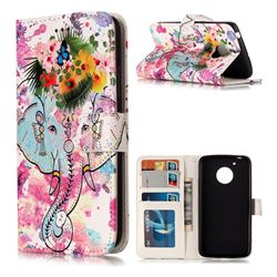Flower Elephant 3D Relief Oil PU Leather Wallet Case for Motorola Moto G5