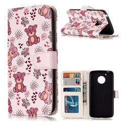 Cute Bear 3D Relief Oil PU Leather Wallet Case for Motorola Moto G5