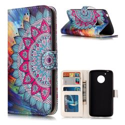 Mandala Flower 3D Relief Oil PU Leather Wallet Case for Motorola Moto G5