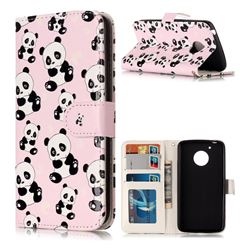 Cute Panda 3D Relief Oil PU Leather Wallet Case for Motorola Moto G5