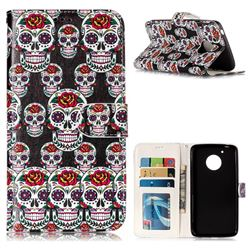 Flower Skull 3D Relief Oil PU Leather Wallet Case for Motorola Moto G5