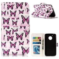 Butterflies Stickers 3D Relief Oil PU Leather Wallet Case for Motorola Moto G5