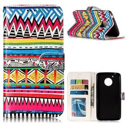 Tribal Pattern 3D Relief Oil PU Leather Wallet Case for Motorola Moto G5