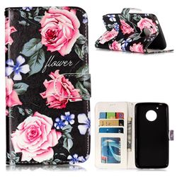 Peony 3D Relief Oil PU Leather Wallet Case for Motorola Moto G5