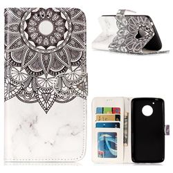 Marble Mandala 3D Relief Oil PU Leather Wallet Case for Motorola Moto G5