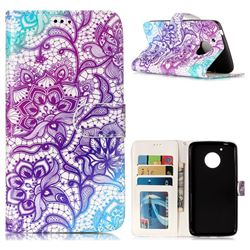 Purple Lotus 3D Relief Oil PU Leather Wallet Case for Motorola Moto G5
