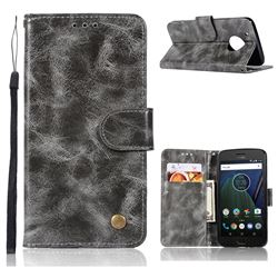 Luxury Retro Leather Wallet Case for Motorola Moto G5 - Gray