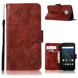 Luxury Retro Leather Wallet Case for Motorola Moto G5 - Wine Red