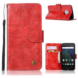 Luxury Retro Leather Wallet Case for Motorola Moto G5 - Red