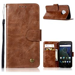 Luxury Retro Leather Wallet Case for Motorola Moto G5 - Brown