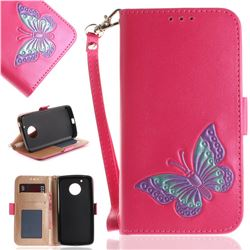 Imprint Embossing Butterfly Leather Wallet Case for Motorola Moto G5 - Rose Red