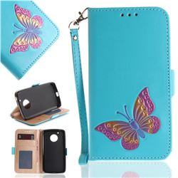 Imprint Embossing Butterfly Leather Wallet Case for Motorola Moto G5 - Sky Blue