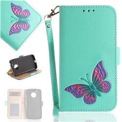 Imprint Embossing Butterfly Leather Wallet Case for Motorola Moto G5 - Mint Green