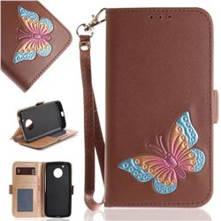 Imprint Embossing Butterfly Leather Wallet Case for Motorola Moto G5 - Brown