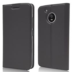 Ultra Slim Card Magnetic Automatic Suction Leather Wallet Case for Motorola Moto G5 - Star Grey