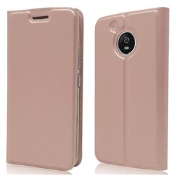 Ultra Slim Card Magnetic Automatic Suction Leather Wallet Case for Motorola Moto G5 - Rose Gold