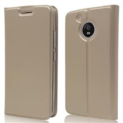 Ultra Slim Card Magnetic Automatic Suction Leather Wallet Case for Motorola Moto G5 - Champagne