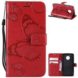 Embossing 3D Butterfly Leather Wallet Case for Motorola Moto G5 - Red
