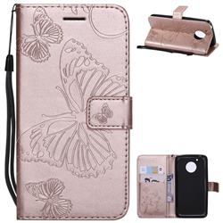 Embossing 3D Butterfly Leather Wallet Case for Motorola Moto G5 - Rose Gold