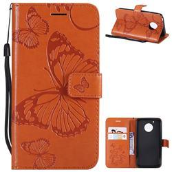 Embossing 3D Butterfly Leather Wallet Case for Motorola Moto G5 - Orange