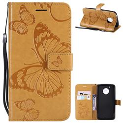 Embossing 3D Butterfly Leather Wallet Case for Motorola Moto G5 - Yellow