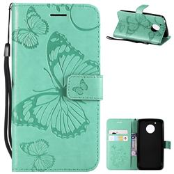Embossing 3D Butterfly Leather Wallet Case for Motorola Moto G5 - Green
