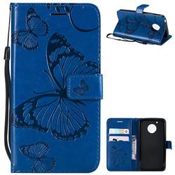 Embossing 3D Butterfly Leather Wallet Case for Motorola Moto G5 - Blue