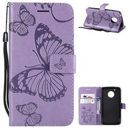 Embossing 3D Butterfly Leather Wallet Case for Motorola Moto G5 - Purple