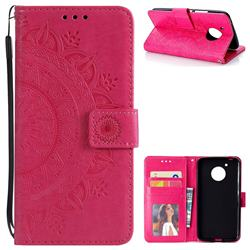Intricate Embossing Datura Leather Wallet Case for Motorola Moto G5 - Rose Red