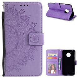 Intricate Embossing Datura Leather Wallet Case for Motorola Moto G5 - Purple