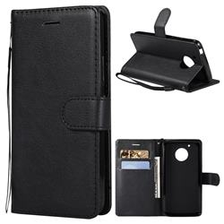 Retro Greek Classic Smooth PU Leather Wallet Phone Case for Motorola Moto G5 - Black