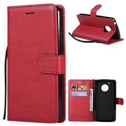 Retro Greek Classic Smooth PU Leather Wallet Phone Case for Motorola Moto G5 - Red