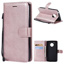 Retro Greek Classic Smooth PU Leather Wallet Phone Case for Motorola Moto G5 - Rose Gold