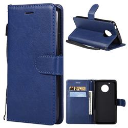 Retro Greek Classic Smooth PU Leather Wallet Phone Case for Motorola Moto G5 - Blue