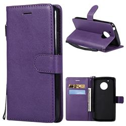 Retro Greek Classic Smooth PU Leather Wallet Phone Case for Motorola Moto G5 - Purple