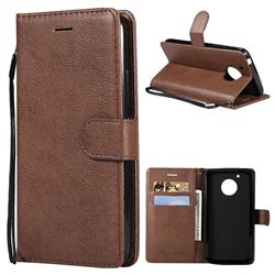 Retro Greek Classic Smooth PU Leather Wallet Phone Case for Motorola Moto G5 - Brown