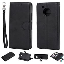 Retro Greek Detachable Magnetic PU Leather Wallet Phone Case for Motorola Moto G5 - Black