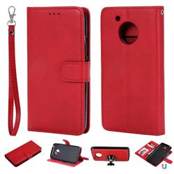 Retro Greek Detachable Magnetic PU Leather Wallet Phone Case for Motorola Moto G5 - Red