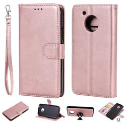 Retro Greek Detachable Magnetic PU Leather Wallet Phone Case for Motorola Moto G5 - Rose Gold