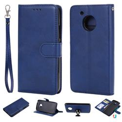 Retro Greek Detachable Magnetic PU Leather Wallet Phone Case for Motorola Moto G5 - Blue