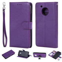 Retro Greek Detachable Magnetic PU Leather Wallet Phone Case for Motorola Moto G5 - Purple