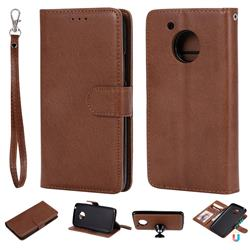 Retro Greek Detachable Magnetic PU Leather Wallet Phone Case for Motorola Moto G5 - Brown
