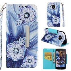 Button Flower Big Metal Buckle PU Leather Wallet Phone Case for Motorola Moto G5