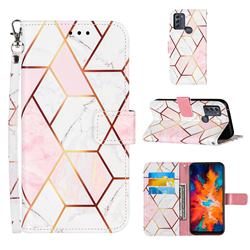 Pink White Stitching Color Marble Leather Wallet Case for Motorola Moto G50